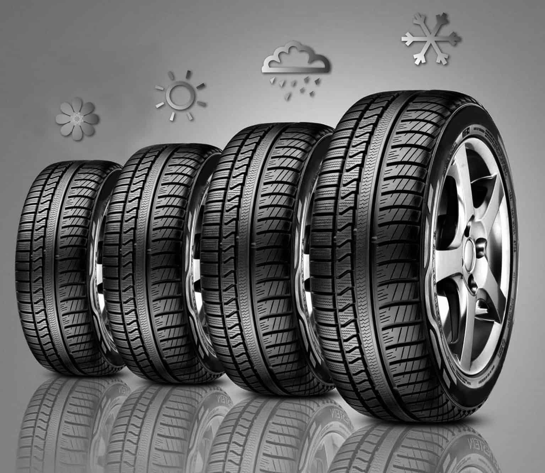 Gli pneumatici invernali garantiscono uno spazio di frenata maggiore del 30% su fondo innevato rispetto alle gomme quattro stagioni.