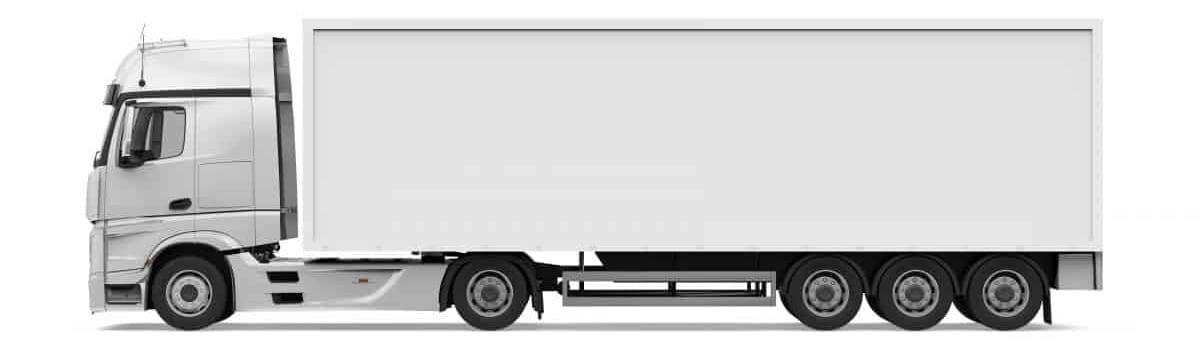 truck bianco con rimorchio